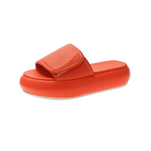 Damesschoenen met oedeem, brede pasvorm Strand- en zwembadschoenen Verstelbaar voor gezwollen voeten Ouderen Plantaire fasciitis Diabetes,Orange,35