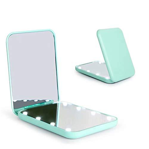 Wobsion Kompaktspiegel, Vergrößerungsspiegel mit Licht,1x/3xhandgehaltener 2-seitiger Magnetschalter-Klappspiegel,Reise-Schminkspiegel,Taschenspiegel für Handtasche,Geschenke für Mädchen (Cyan)