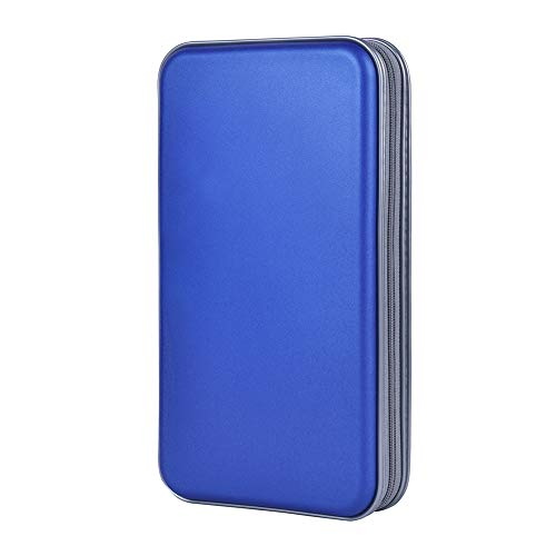 alavisxf xx CD Holder, 72 Capacity CD/DVD Case Holder Portable Wallet Storage Organizer Hard Plastic Protective Storage Holder for Car Travel(72 Capacity, Blue 72)