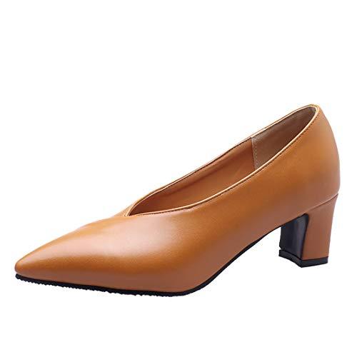AIYOUMEI Damen V Neck Pumps Spitz Blockabsatz High Heels Halbschuhe Bequem Schuhe Gelb 34 EU