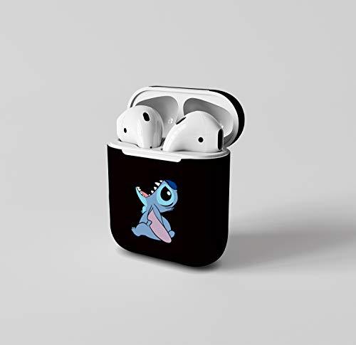 Léger Coque Étui Housse for AirPods 1&2 Antichoc avec Coque en Silicone Protecteur pour Airpods Apple 1 et 2 Convient aux Filles garçons Air pods Mignon Silicone Souple Airpods Bleu Silicone