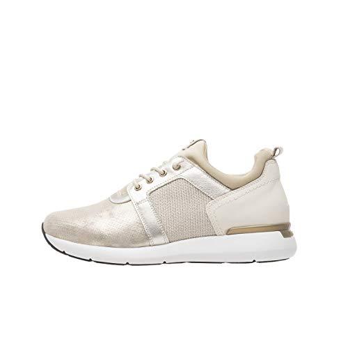 Nero Giardini P907710D Sneakers Donna in Pelle E Tessuto Tecnico - Crema 38 EU