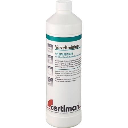 Certiman tentreiniger 1000 ml grondige reiniging sterkste verontreinigingen op gecoate luifels, dekzeilen, partytenten en kunstleer.