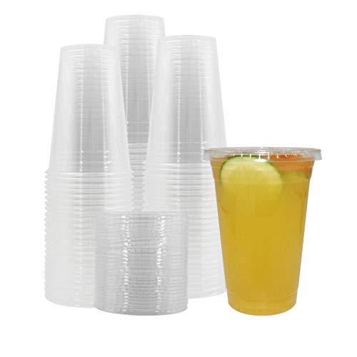 Belinlen transparente Kunststoffbecher mit Deckel, wiederverwendbar, perfekt für kalte Getränke, Eiskaffee, Tee, Smoothie etc.