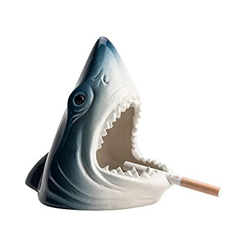 XDYNJYNL Cenicero de cerámica, cenicero de jardín con diseño de tiburón sin tapa para exteriores, cenicero a prueba de viento para sin humo, cenicero de cigarrillos para uso en exteriores, molde de ce
