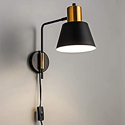 Modern Swing Arm Wall Sconce Plug in or Hardwired, Black Industrial Wall Lights with Cord for Bedroom, Living Room