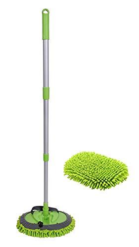 Xifando Three-Section Telescopic Aluminum Alloy Rod Long-Handled Dust Mop (Green)