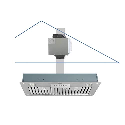 "Awoco Super Quiet Split Insert Stainless Steel Range Hood, 4-Speed, 800 CFM, LED Lights, Baffle Filters with 6"" Blower (30'W 6' Vent)"
