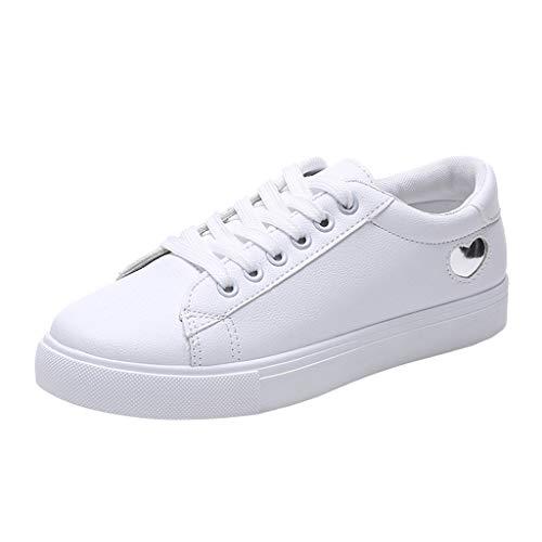 Zapatos de Mujer Zapatillas Respirable Mocasines Deportes Casuales Nuevo Estudiante Zapatos Blancos Mujeres Salvajes Zapatos Cuero Zapatos Blancos Planos Antideslizantes 35-39 riou (38, Plata)