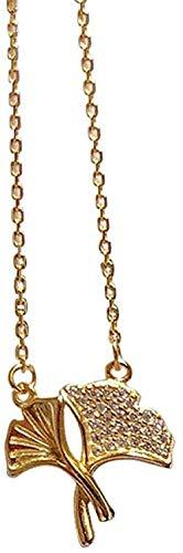 Xianglsp Co.,ltd Collar Collares Hojas Dobles De Albaricoque Collar Colgante De Plata 925 para Mujer La Joyería De Moda Viene con Caja De Regalo Cumpleaños para Mujeres Y Niñas