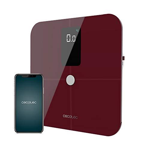 Cecotec Bascula de Baño inteligente Surface Precision 10400 Smart Healthy Vision Garnet. Medición de Bioimpedancia, App, 15 Parámetros