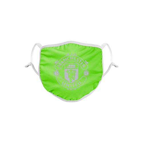 Forever Collectibles UK Premier League Manchester United Green Neon Reusable and Washable Unisex Face Mask Covering