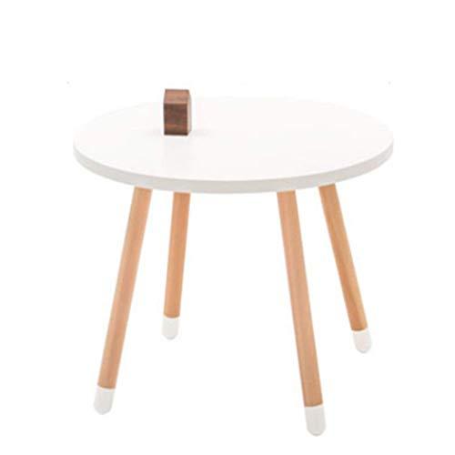 AZWE Mesa y taburete de madera redonda para niños, mesa de estudio para niños, mesita de noche moderna europea, mesa redonda y 4 patas de apoyo,Blanco,Mesa redonda