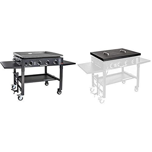 """Blackstone 1554 Cooking 4 Burner Griddle Station with Side Shelf, 36 Inches, Black & 5004 Griddle Grill 36"""" Hard Cover, 36 Inch, Black Griddles"""