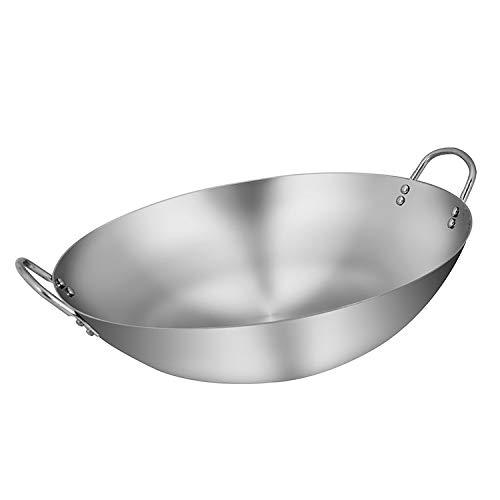 Roestvrij stalen wok/pan - 32/80cm, geen gecoat/niet-stick kok, geschikt voor alle kookplaten, inclusief inductie 80cm