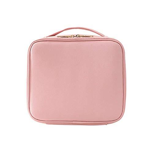 Kulturtaschen, Makeup Bag Weibliche Leder Doppelschichten Make-Up Tasche Reise Kosmetikkasten Lager Organizer Große Space Wash Bag Home