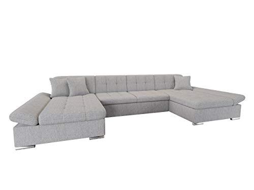 Ecksofa Alia mit Regulierbare Armlehnen, 2 Bettkasten und Schlaffunktion, U-Form Eckcouch vom Hersteller, Sofa Couch Wohnlandschaft (Majorka 04)