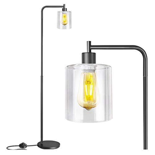 American Country Retro Style Industrial Standing Lamp Metal Floor Lamp with On/Off Switch for Bedroom, Living Room, Dining Room, Office (Color : Black)