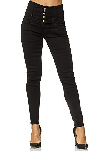 Elara Jeans Femmes Stretch Taille Haute Skinny Chunkyrayan Y6109 Black 48 (4XL)