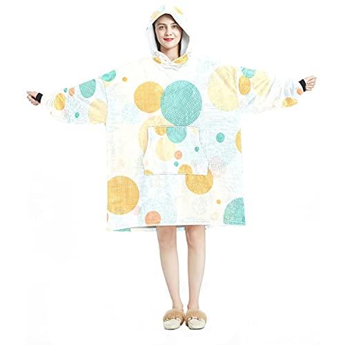 Manta con capucha, casual suave microfibra casera, camisón cálido para hombres y mujeres con diseños de lunares de color grande