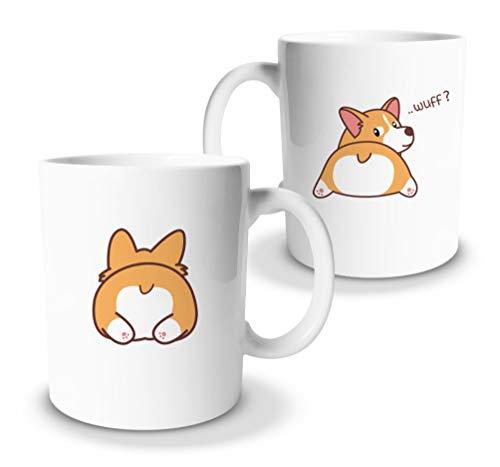 tassenprinter Corgi Tasse/Welsh Corgie Tasse 300ml Keramik Kaffee-Tasse als Geschenk für Hunde-Fans Mamas Liebhaber lustige und süße Spruchtasse Geburtstag (Corgi-Wuff)