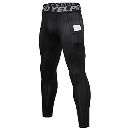 MakingDa - Mallas de compresión para hombre con bolsillos, transpirables, para fitness, jogging, pantalones elásticos, de secado rápido, para yoga, correr, ciclismo, caminar, deportes al aire libre Negro Negro ( 27-32