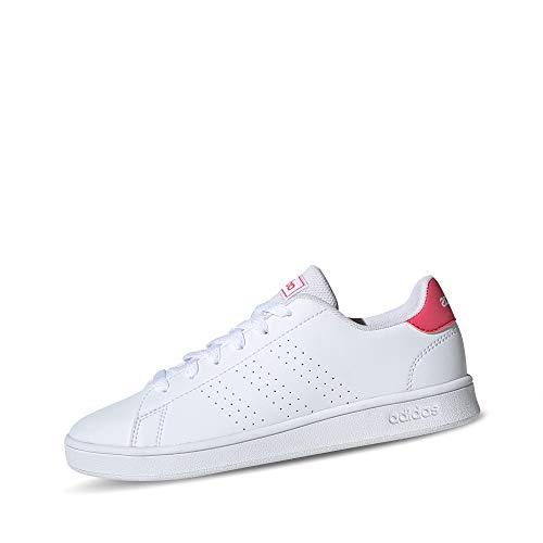 Adidas Advantage K Chaussures de tennis unisexe pour enfants, Garçon, 11219_50639, Blanc Rose Intense Blanc, 38 2/3 EU