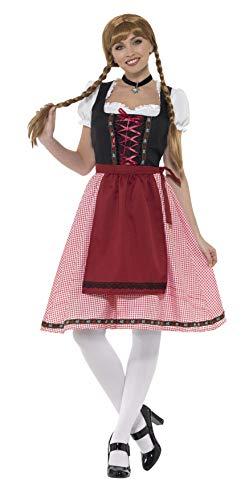 Smiffys-49668S Disfraz de Criada bávara de la Taberna, con Top, Vestido y Delantal, Color Rojo y Negro, S-EU Tamaño 36-38 (Smiffy