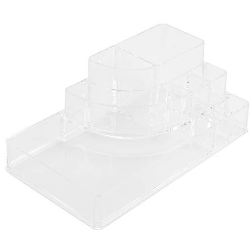 Gmkjh Caja de Almacenamiento Transparente, Caja de Almacenamiento de Herramientas de Maquillaje Contenedor de Almacenamiento Organizador de Escritorio con 8 Compartimentos