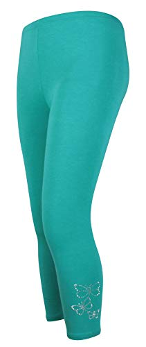 Real Life Fashion Ltd Damen Pailletten 3/4 Schmetterling Stretch elastische Taille Legging