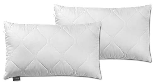 Traumnacht 3-Star Kopfkissen, Doppelpack, weich und bequem aus softer Microfaser, 40 x 60 cm, Waschbar, weiß