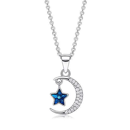 Collar De Estrella Y Luna, Joyería De Cristal para Mujer, Cristal Azul De Plata De Ley 925, Embalaje Exquisito