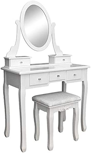 Pannow Makeup Vanity Table Set And Cushioned Stool Dressing Table 5 Drawers Single Mirror Wooden Makeup Vanity Table