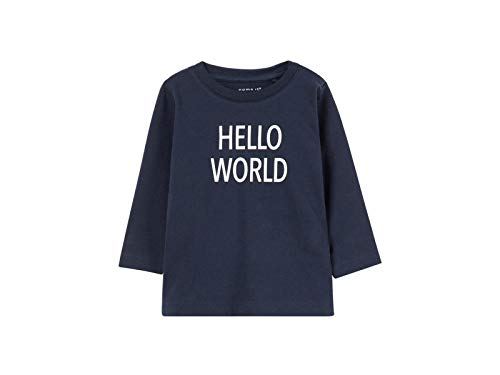 NAME IT NAME IT Unisex Baby NBNDELUFIDO LS TOP NOOS T-Shirt, Blau (Dark Sapphire), 50