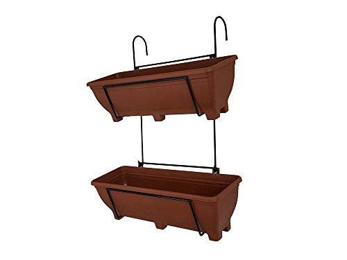 Garden Pride Double Hanging Balcony Planter - 60cm Trough holder for use on balconies, fences or railings. An ideal alternative to a window box. (Terracotta Troughs)