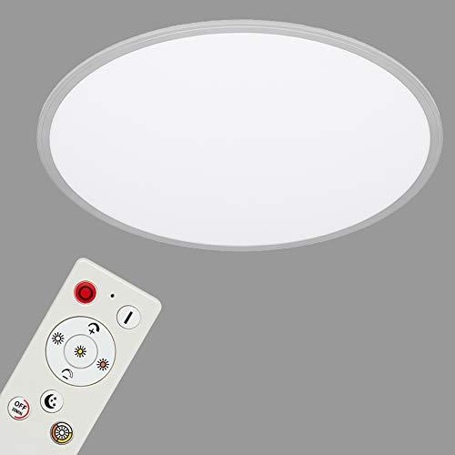 Briloner Leuchten - LED Deckenlampe, LED Panel dimmbar, inkl. Farbtemperatursteuerung, inkl. Nachtlichtfunktion, inkl. Fernbedienung, 36 Watt, 4.000 Lumen, Weiß/Silber, Ø 56cm