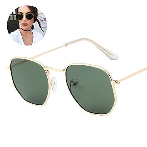 Hainice 1 UNID FLEG Metal Metal GRABLOS Gafas de Sol polarizadas Polygon Diffectored Lens Protección UV para Hombres y Mujeres (Marco de Oro Oscuro Lente Verde)