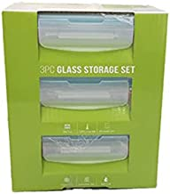 Click Lock PRD.FE330RC 3pieces Container Set, Clear, 330ml, Glass