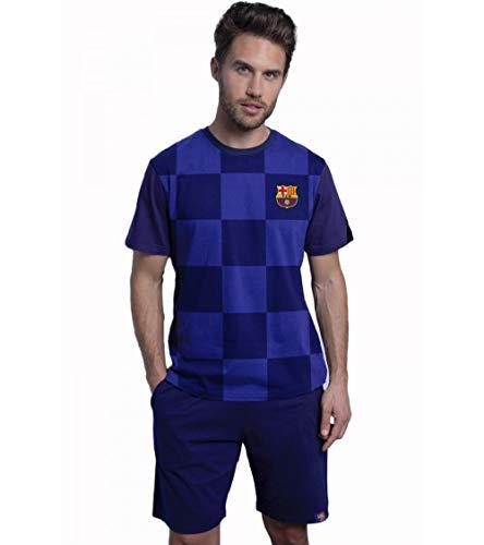 FC Barcelona - Pijama Hombre de Manga Corta F.C.Barcelona de Verano 100% Algodón - Marino, L