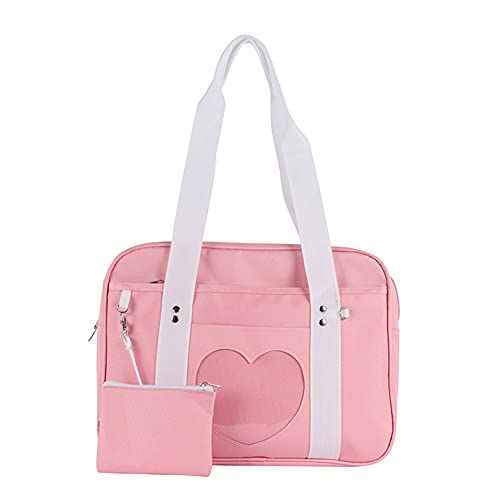 Fuaensm Bolso bandolera de lona para mujer, bolso de mano grande, bolso de lona, bolso de mano de gran capacidad, bolso de viaje, Rosa., 36