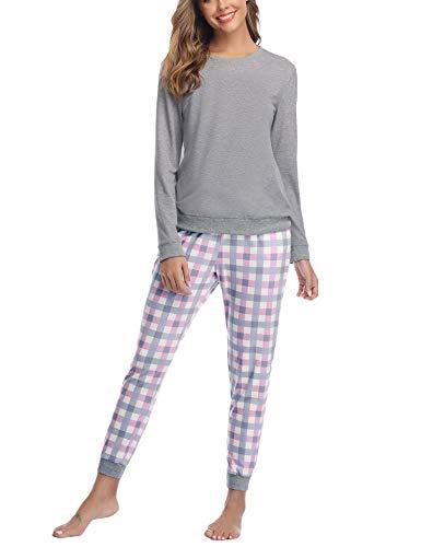 Aibrou Pijama Mujer Invierno de Algodón Conjuntos de Pijamas para Mujer Mangas Larga y Pantalones Largo Ropa de Casa 2 Piezas