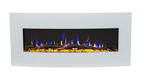 Noble Flame Detroit 1220 - gebogen elektrische haard wandhaard haard haard kachel - incl. elektrisch inzetstuk met verwarmingsfunctie - sfeer-wandverlichting - wit