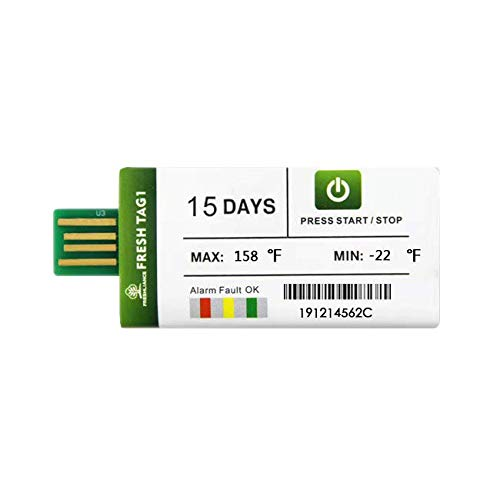 Freshliance 10 Pack Temperature Recorder 15Days Single Use PDF in Transit Data Loggers USB Temp Logger Recording Interval 1 Minute Max 129600 Points No Software