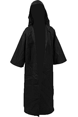 Cosplaysky Kids Halloween Tunic Hooded Cloak for Jedi Robe Costume Black Medium