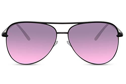 Cheapass Gafas de Sol Grandes Metálicas Gafas Piloto Mujer Montura XL Oversize Negra con Cristales Gradiente Morado a Rosa UV400