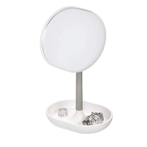 Price comparison product image iDesign Makeup Mirror,  Small and Round Dressing Table Mirror Made of Plastic,  Adjustable Bathroom Mirror with Tray for Makeup and Jewellery,  White / Grey