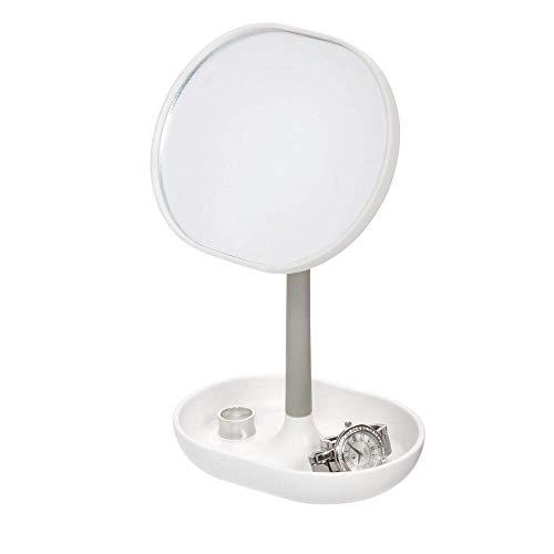 iDesign Standspiegel, kleiner und runder Schminkspiegel aus Kunststoff, drehbarer Badspiegel mit Ablage für Make-up und Schmuck, weiß und grau