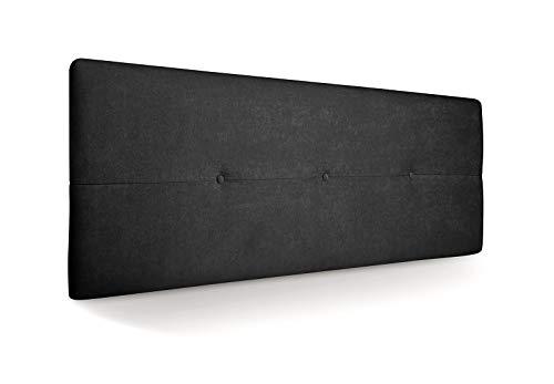 SUENOSZZZ - Cabecero de Madera Jazmin, tapizado Acolchado, en Tela Rio21 Color Negro Cabeceros Madera para Dormitorio | Cama Matrimonio | Cama Juvenil | Camas de 140 cm, 135 cm, 120 cm