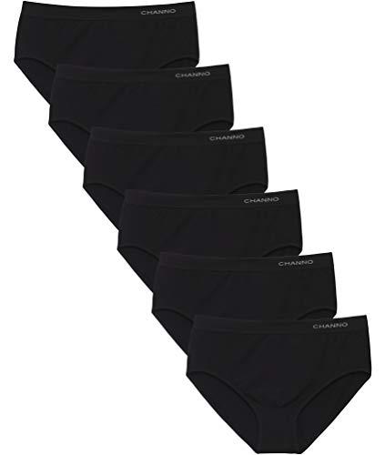 Channo Braguitas Algodón Talle Alto Sin Costuras. Elásticas, Suaves y cómodas, Colores Lisos. Pack de 6 (Pack de 6 Negro, XL)