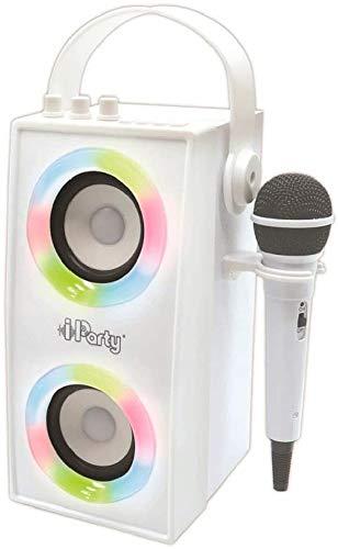 Lexibook- iParty-Enceinte Portable Bluetooth Micro, karaoké, Effets Lumineux, sans-Fil, USB, Carte SD, Batterie Rechargeable, Blanc, BTP180Z